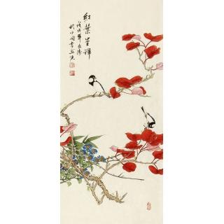 徐文涛新品国画花鸟画《红叶呈祥》