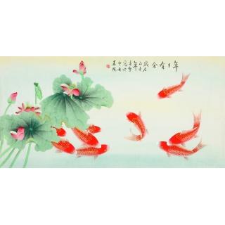 【已售】中央美院 凌雪四尺工笔画九鱼图《年年有余》