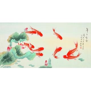 中央美院 凌雪四尺工笔画九鱼图《年年有余》