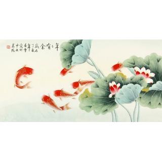 【已售】中央美院 凌雪三尺工笔画九鱼图《年年有余》