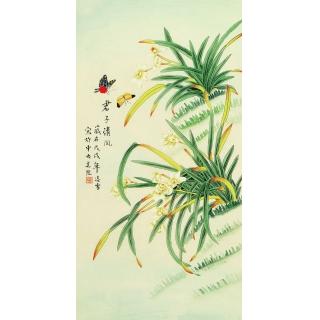 【已售】凌雪三尺工笔花鸟画国画兰花《君子清风》