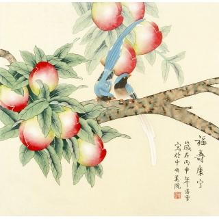 祝寿图 北京美协 凌雪斗方花鸟画《福寿康宁》