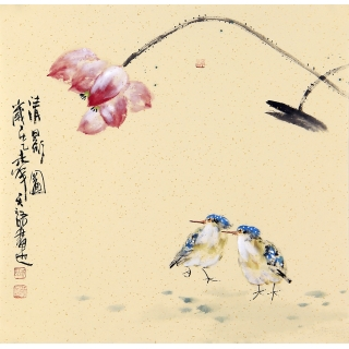 实力派画家阳瑞萍写意花鸟斗方《清影图》
