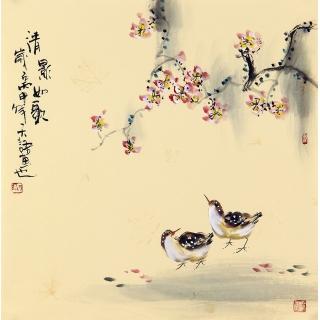 实力派画家阳瑞萍写意花鸟斗方《清影如歌》