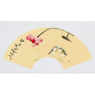 实力派画家阳瑞萍写意花鸟扇面《河畔清影》