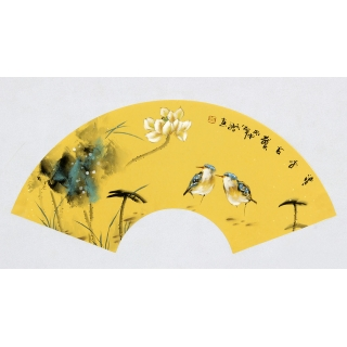 【已售】实力派画家阳瑞萍写意花鸟扇面《清香古韵》