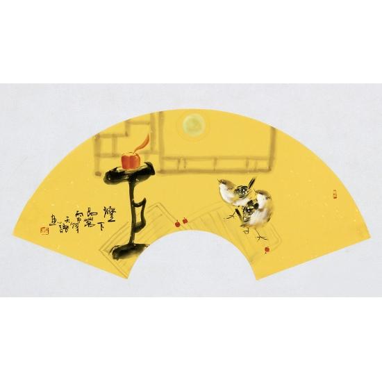 实力派画家阳瑞萍写意花鸟扇面《灯下品茗》