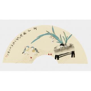 【已售】实力派画家阳瑞萍写意花鸟扇面《神仙图》
