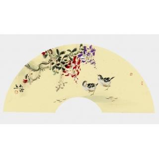 实力派画家阳瑞萍写意花鸟扇面《紫藤》