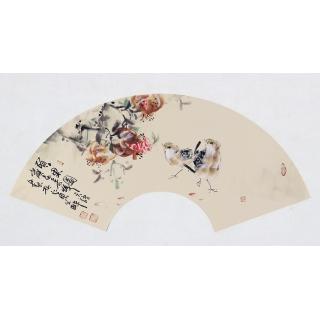 【已售】实力派画家阳瑞萍写意花鸟扇面《硕果图》