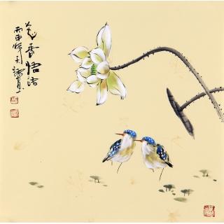 【已售】实力派画家阳瑞萍写意花鸟斗方《花香悟语》