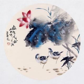 【已售】实力派画家阳瑞萍写意花鸟团扇《常想花香 》