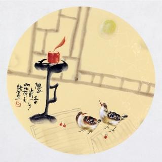 【已售】实力派画家阳瑞萍写意花鸟团扇《灯香赏》