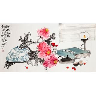 赵飞洪三尺横幅花鸟《静品宜香》