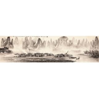 【已售】莫桂明六尺对开水墨山水画《兴坪雲锁半遮峰》