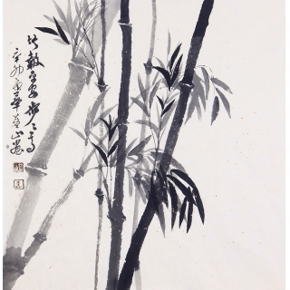 蓝山四尺斗方花鸟画竹子《竹报平安步步高》