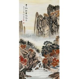 【已售】一级美术师 张天成四尺竖幅山水画《清松红叶秋色明》