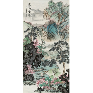【已售】一级美术师 张天成四尺竖幅山水画《春和景明》