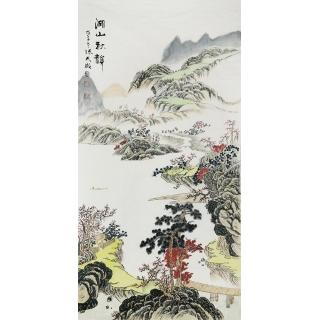 【已售】张天成四尺竖幅山水画《湖山秋韵》