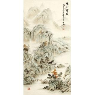 玄关装饰画 刘远东工笔山水画作品《春山访友》