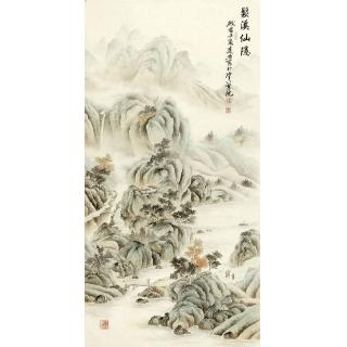 玄关装饰画 刘远东四尺竖幅工笔山水画作品《鬆溪仙隐》