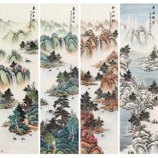 宁良成四条屏写意山水画《春夏秋冬》