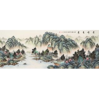 【已售】实力派画家宁良成最六尺山水画《奇峰竞秀》