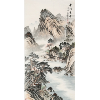 【已售】宁良成四尺竖幅仿古国画山水画《奇峰竞秀》