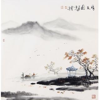 江南风景画 云天四尺斗方山水画《访友图》