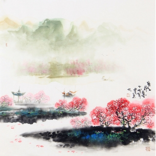 【已售】江南装饰画 云天四尺斗方山水画《唐人诗意》