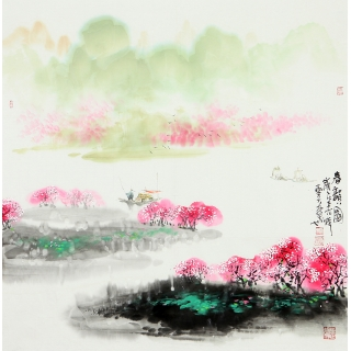 【已售】实力派画家云天四尺斗方山水画《春韵图》
