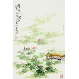 【已售】云天四尺三开山水画《荷韵千里香》