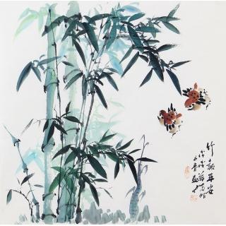 当代实力派画家周丹青新品竹子图《竹报平安》