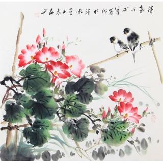 当代实力派画家周丹青写意花鸟画《清趣》
