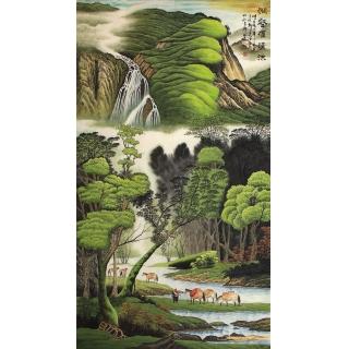 陈厚刚六尺竖幅山水画作品《涧壑滙清淙》