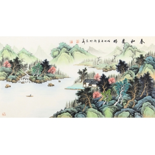 【已售】实力派画家宁良成三尺横幅写意山水画《春和景明》