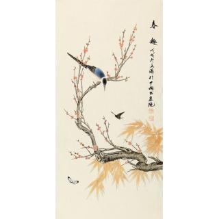湖北美协 徐文涛三尺竖幅花鸟画作品《春趣》