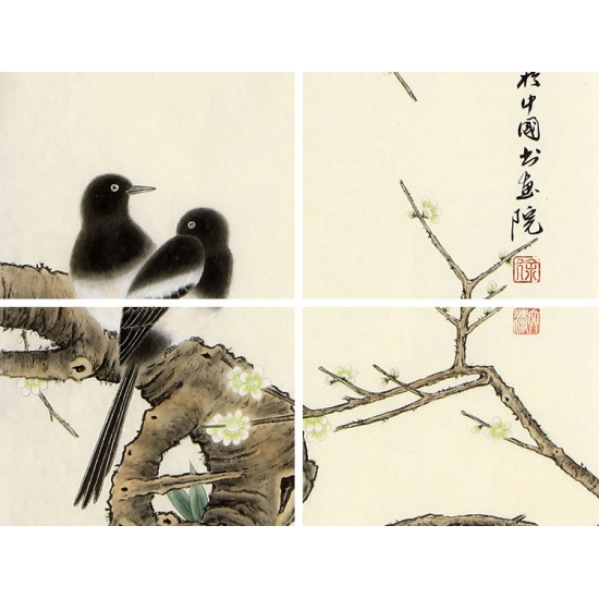 名家字画 徐文涛三尺竖幅花鸟画作品《迎喜纳福》
