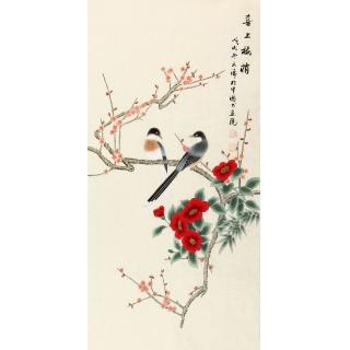 玄关装饰画 徐文涛三尺竖幅花鸟画作品《喜上梅梢》