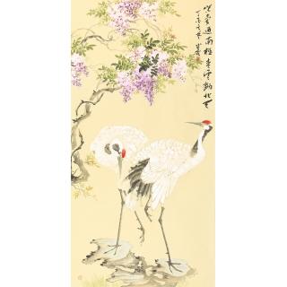 紫藤仙鹤图 画家皇甫小喜写意花鸟画《鹤寿图》