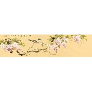 国画紫藤图 皇甫小喜四尺对开花鸟画《紫气东来》