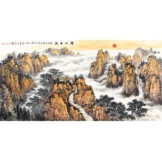 【已售】无水靠山图 李焕辉四尺横幅山水画《黄山日出》