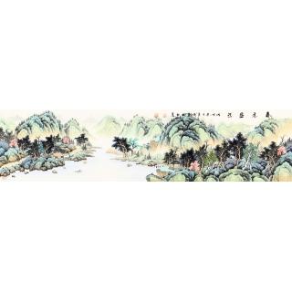 装饰字画 实力派画家宁良成四尺对开写意山水画《春意盎然》