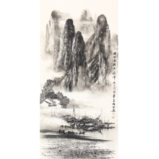 【已售】漓江山水画 画家莫桂明三尺竖幅手绘作品《兴坪雲锁半遮峰》