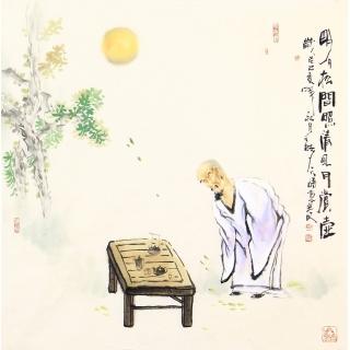 实力派画家阳瑞萍四尺斗方人物画作品《明月松间照清风》