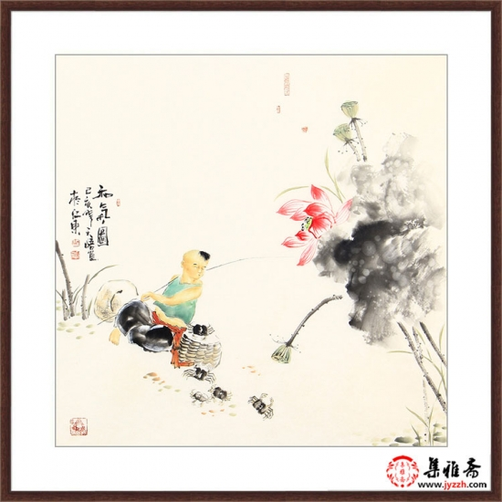 实力派画家阳瑞萍四尺斗方人物画作品《和气图》