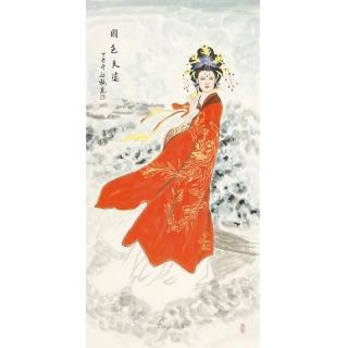 国画美女图 陈红梅四尺竖幅人物画仕女图《国色天姿》