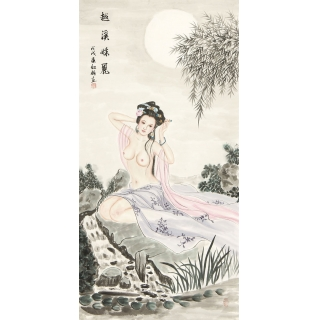 【已售】国画美女图 陈红梅四尺竖幅人物画仕女图《越溪妹丽》