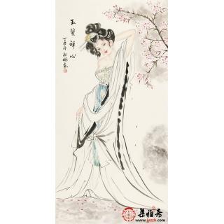 【已售】仕女图 陈红梅四尺竖幅人物画美女图《玉质禅心》