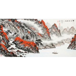 蓝国强四尺山水作品《峡江秋韵图》